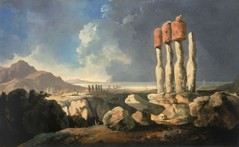 Easter Island statues by William Hodges, 1775