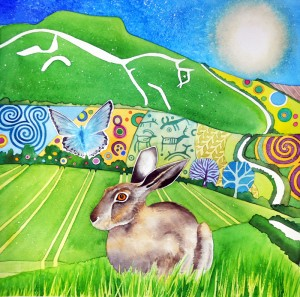 Chalk hill blues, brown hare, Uffington white horse