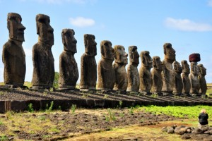 Stone statues at Tongariki, Easter Island