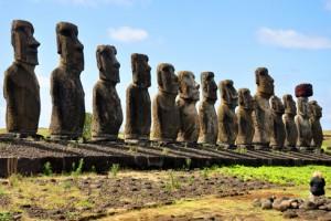 Stone statues at Tongariki, Easter Island