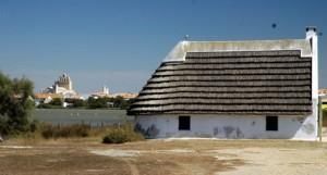 Stes Maries cabanes and church