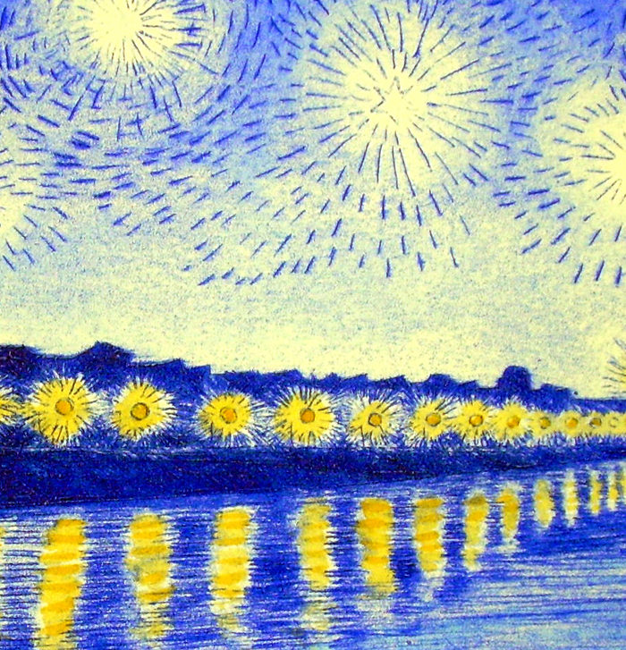 Detail from Vincent's starry night over the Rhon