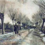 Road with pollarded willows
