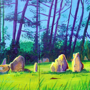 A painting of the rollright stones in spring tim