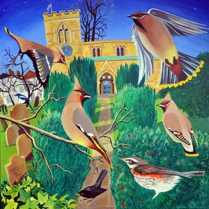 painting of waxwings