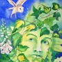 A portrait of the Green Man as he peeps out the undergrowth at