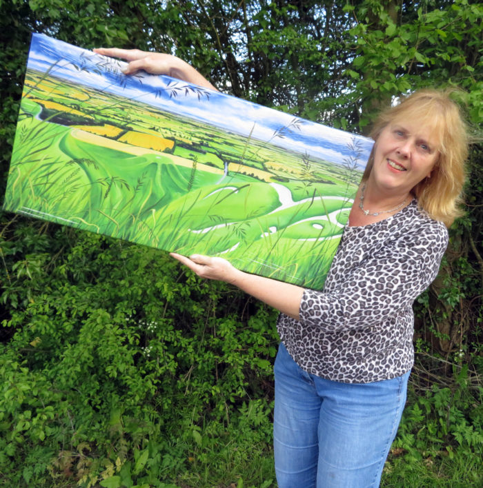 canvas print of long grass at white horse hill with artist Jane Tomlinson