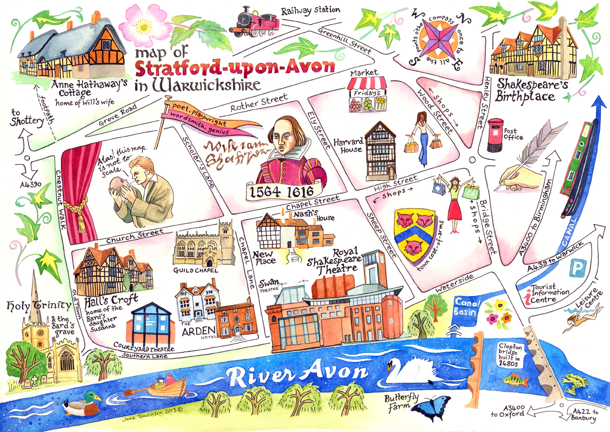 Map Of Stratford Upon Avon Map of Woodstock