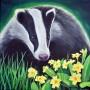 Badger and primroses