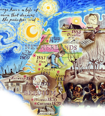 map of the Life and Works of Vincent van Gogh - Netherlands and Belgium