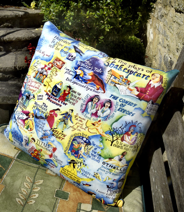 Shakespeare Map cushion