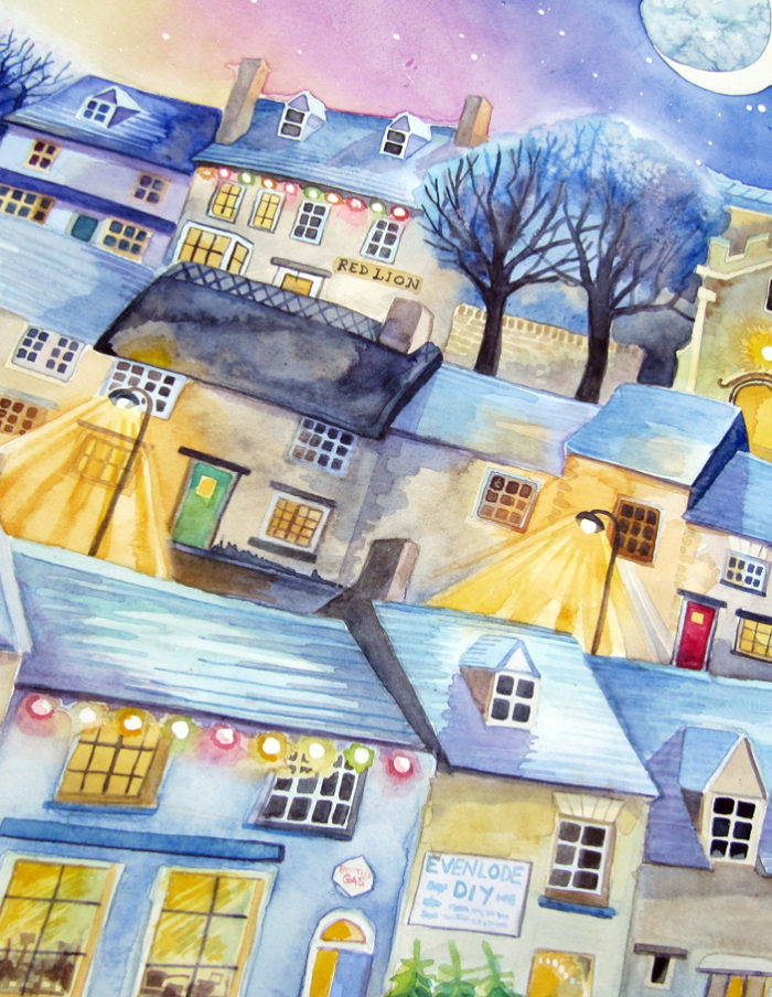 midwinter village rooftops