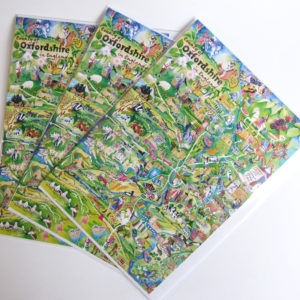 Oxfordshire map greetings cards