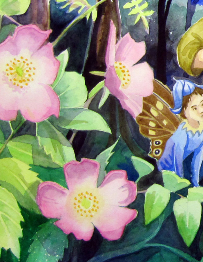 Detail from a Midsummer Night's Dream showing sweet musk roses and a fairy