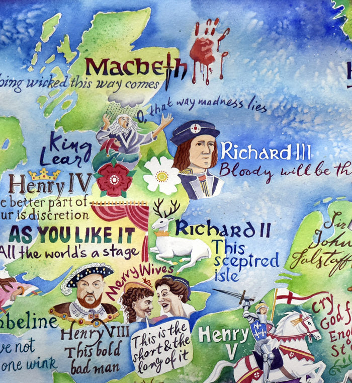 Map of the plays of Shakespeare detail of the British Isles
