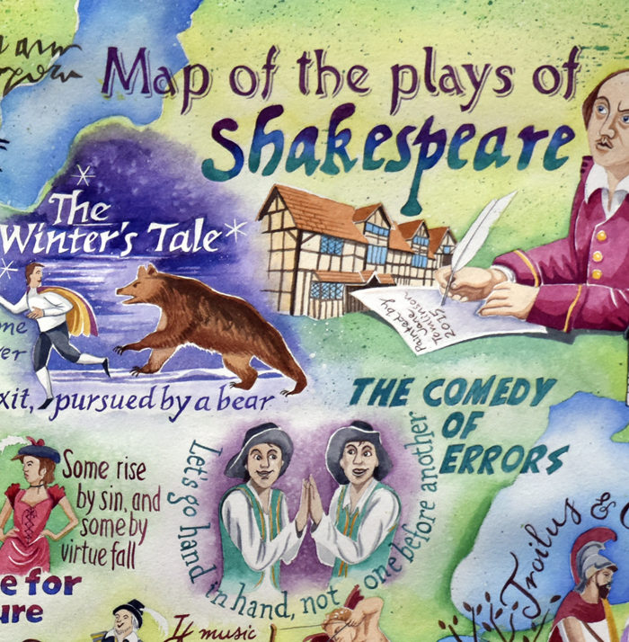 Map of the plays of Shakespeare -detail of Shakespeare writing
