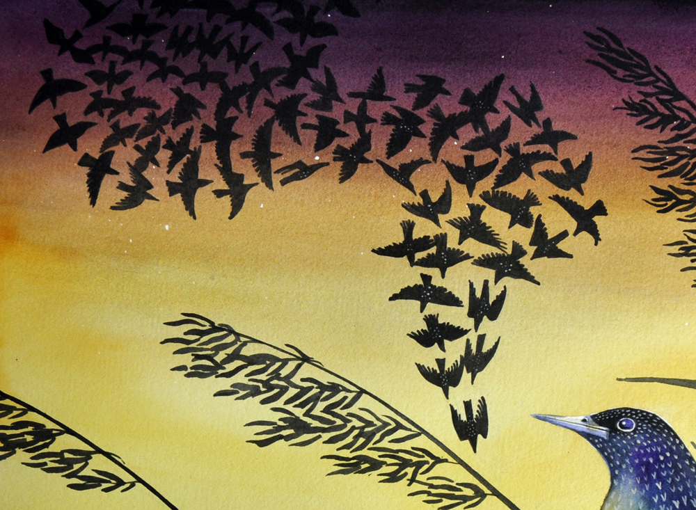 starling and reeds