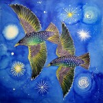 A painting of two starlings