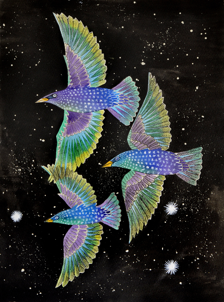 A painting of three starlings