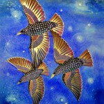 A painting of three starlings in flight