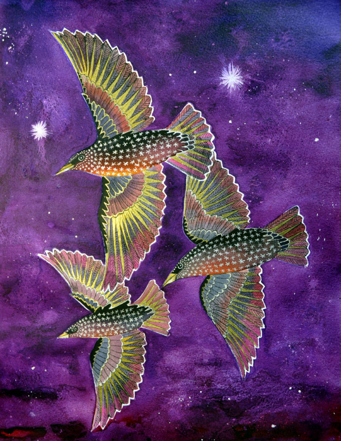 Three starlings in purple and gold