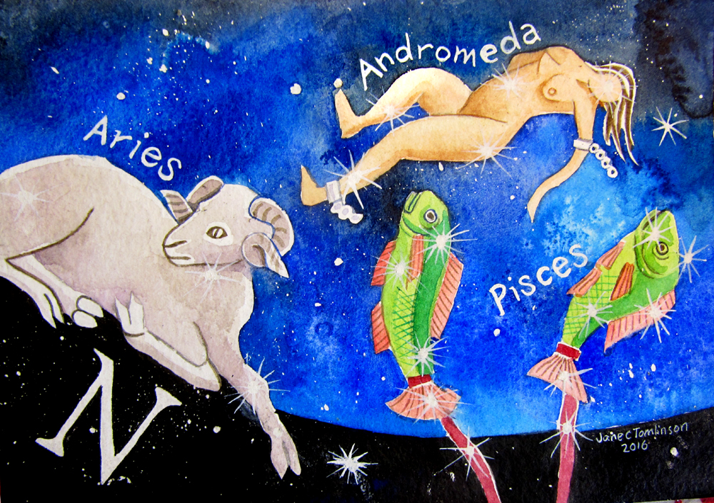 Aries, Andromeda and Pisces constellations watercolour