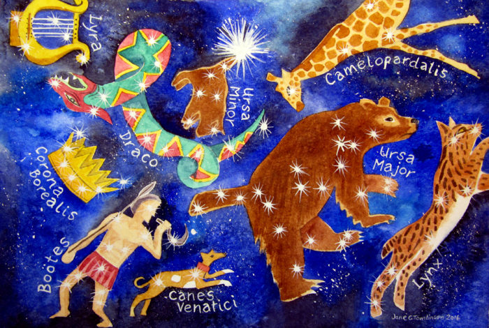 Draco and Ursa Major constellations watercolour