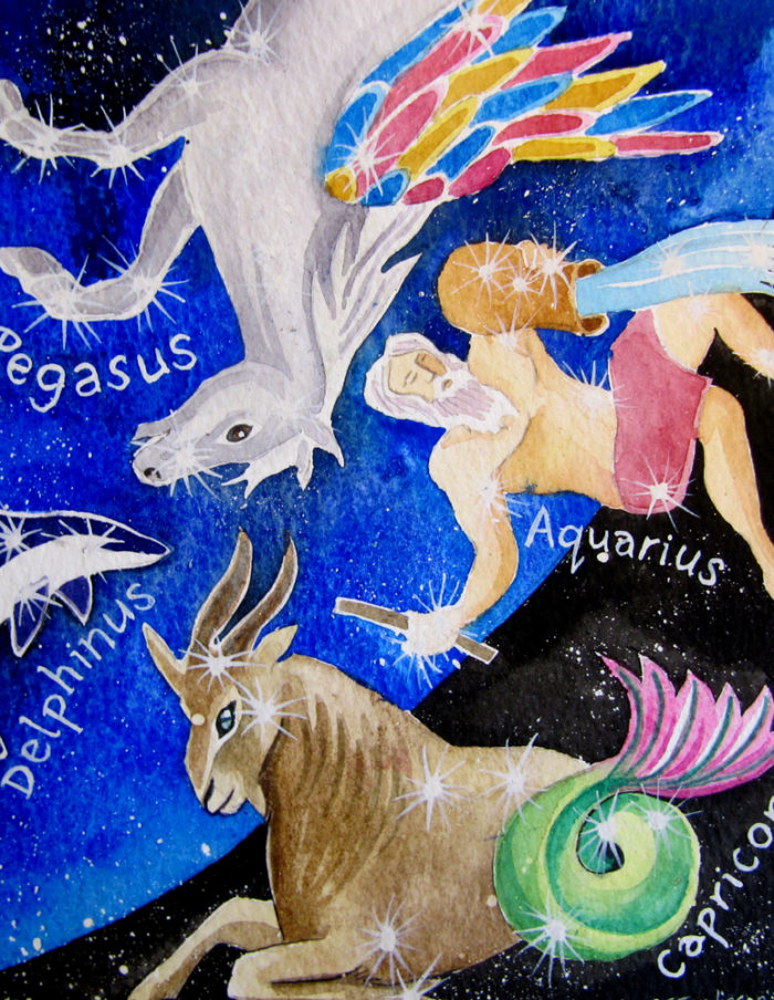 Pegasus and Capricorn constellations watercolour
