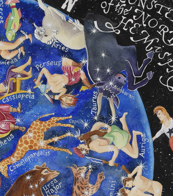 Detail from Heavens Above a map of the stars showing constellations of taurus, aries, perseus and ziggy stardust