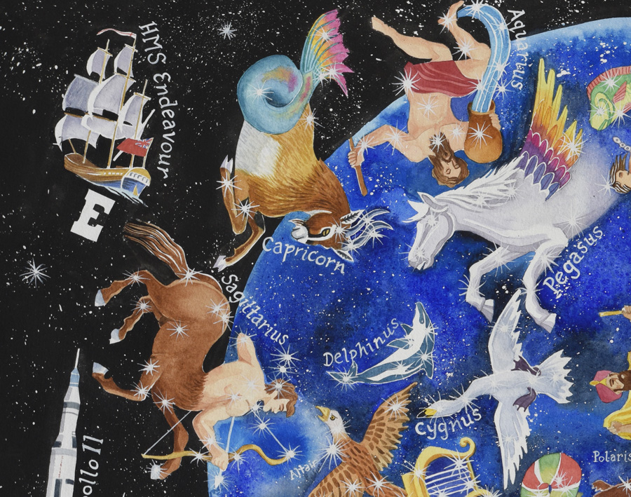 Detail from Heavens Above a map of the stars showing constellations of capricorn, sagittarious and pegasus
