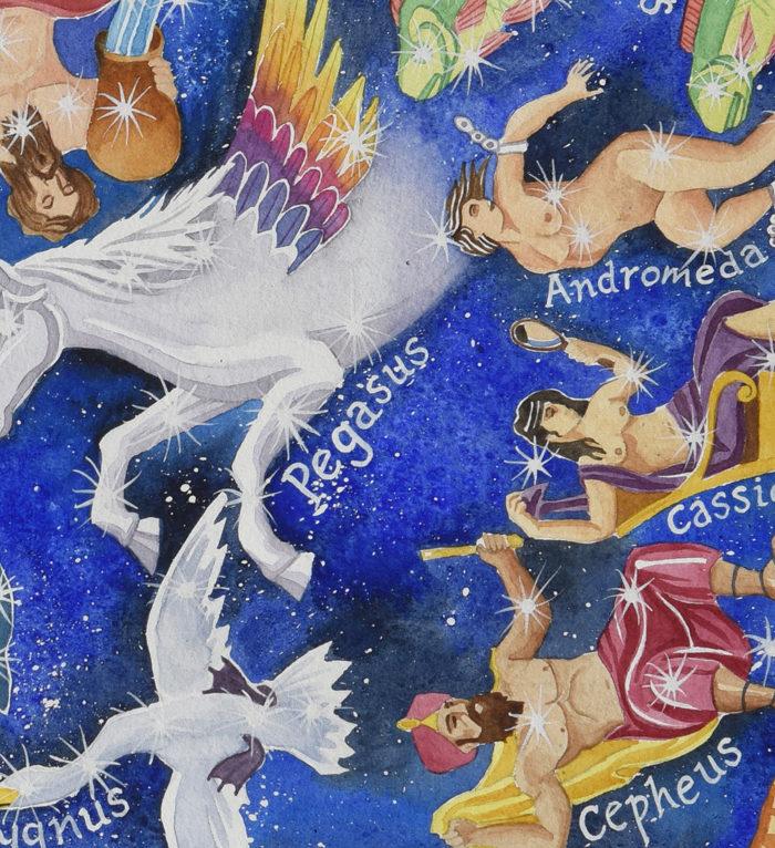 Heavens Above map of the stars constellations pegasus andromeda cygnus