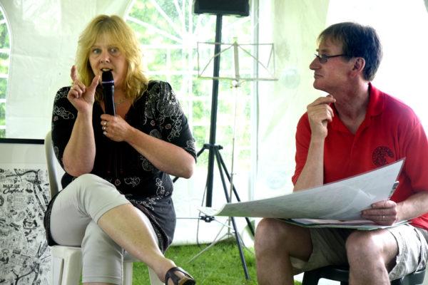 Photo of Jane being interviewed by Nick Millea