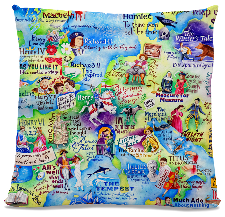 Picture of Shakespeare Map cushion 2