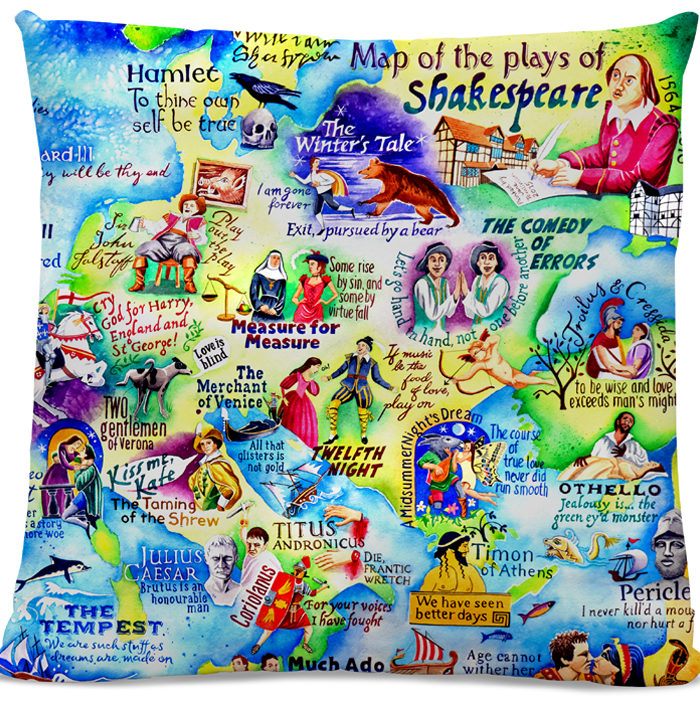 Picture of Shakespeare Map cushion 1