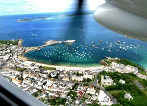 Hughtown on St Mary's in the Isles of Scilly from the air