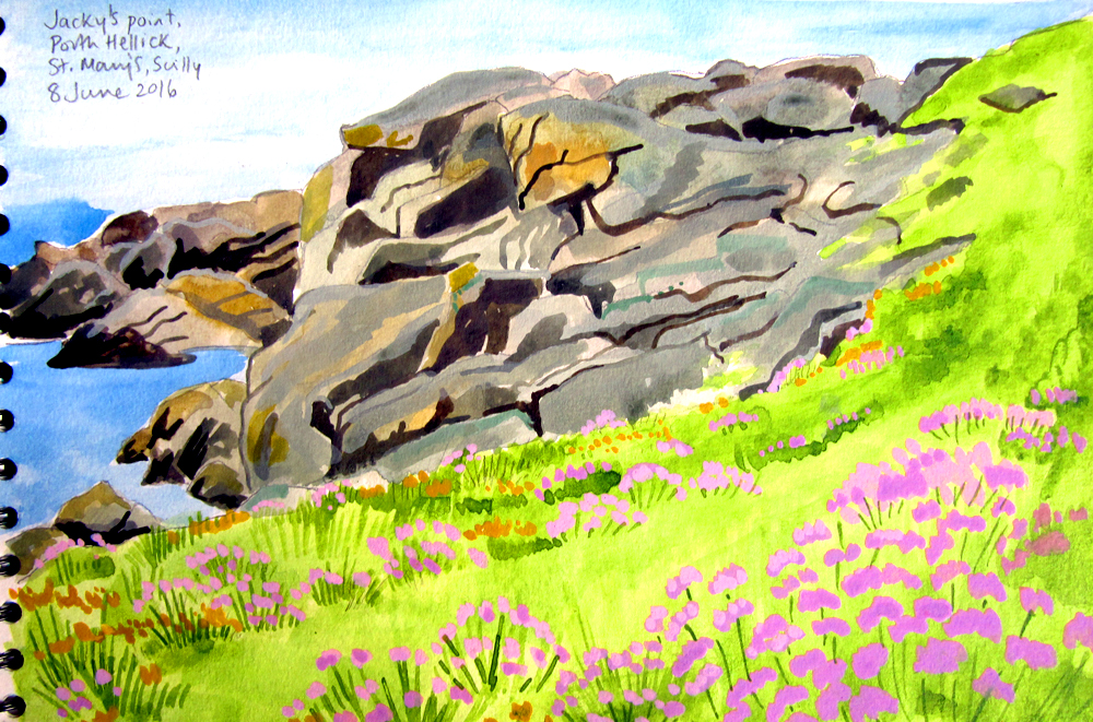 Jane's watercolour sketch of rocks at Porth Hellick