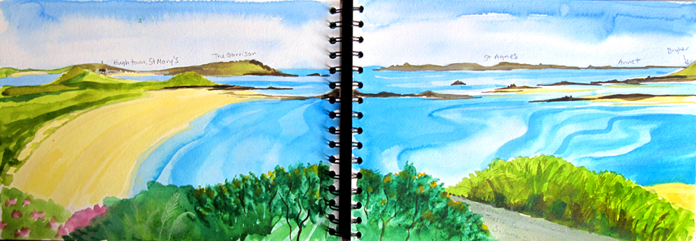 Watercolour sketch of a view from Tresco of the Isles of Scilly