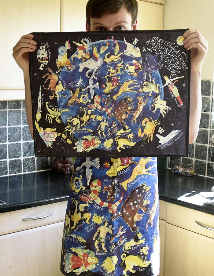 Tea towel of northern sky constellations