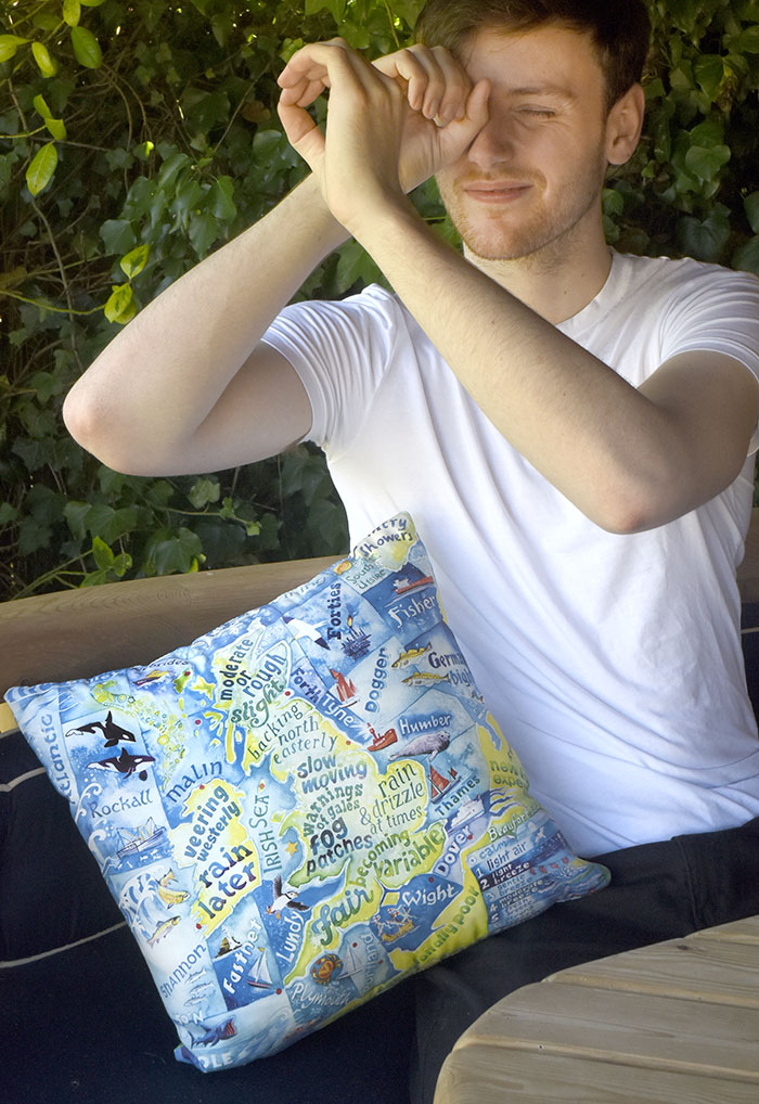 Photo of the shipping forcast cushion