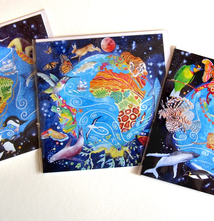 Photo of Planet Earth pack of 3 differentgreeting cards