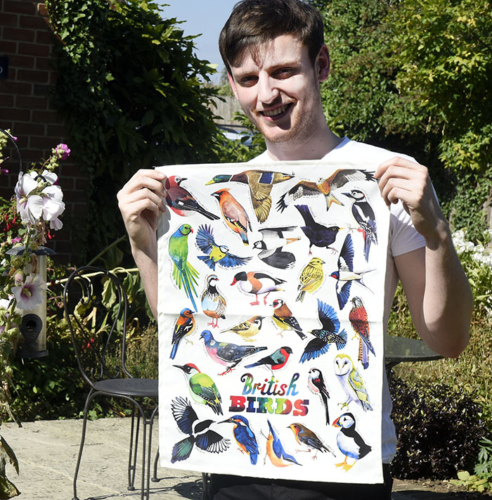 British birds tea towel