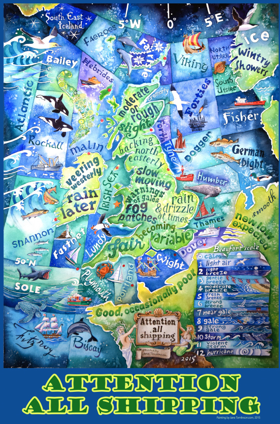 shipping forecast tea towel