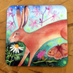 Hare and wild flowers coaster