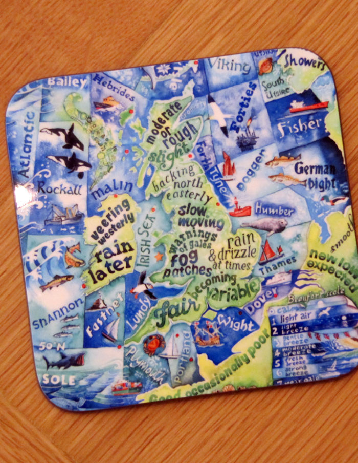 Shipping forecast coaster