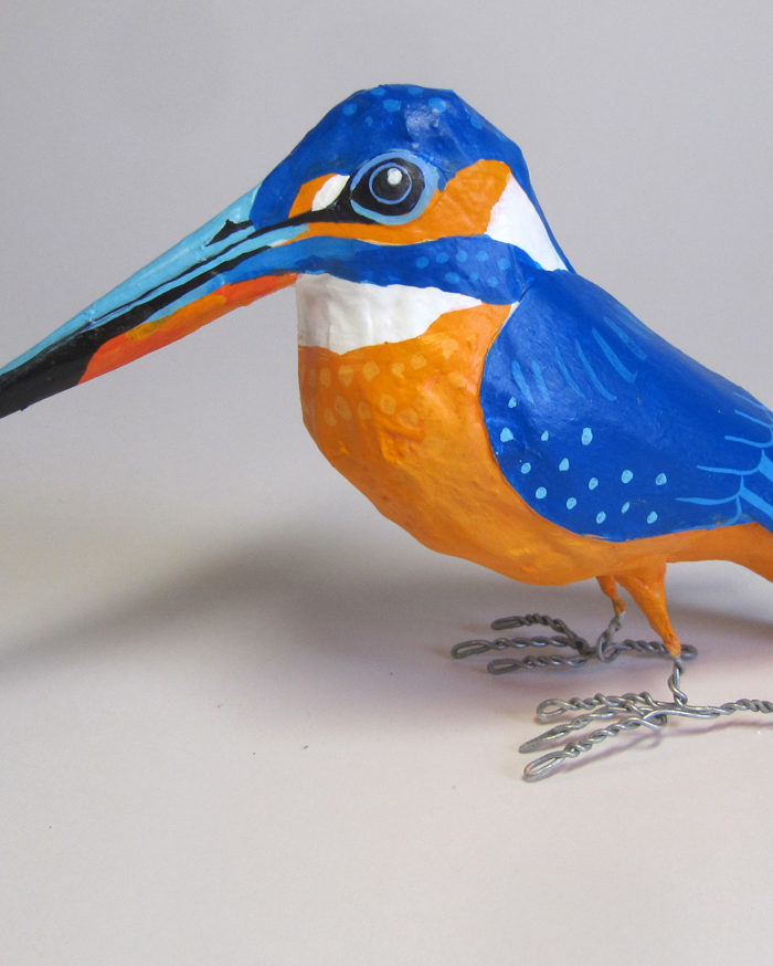 Paper mache kingfisher by Jane Tomlinson