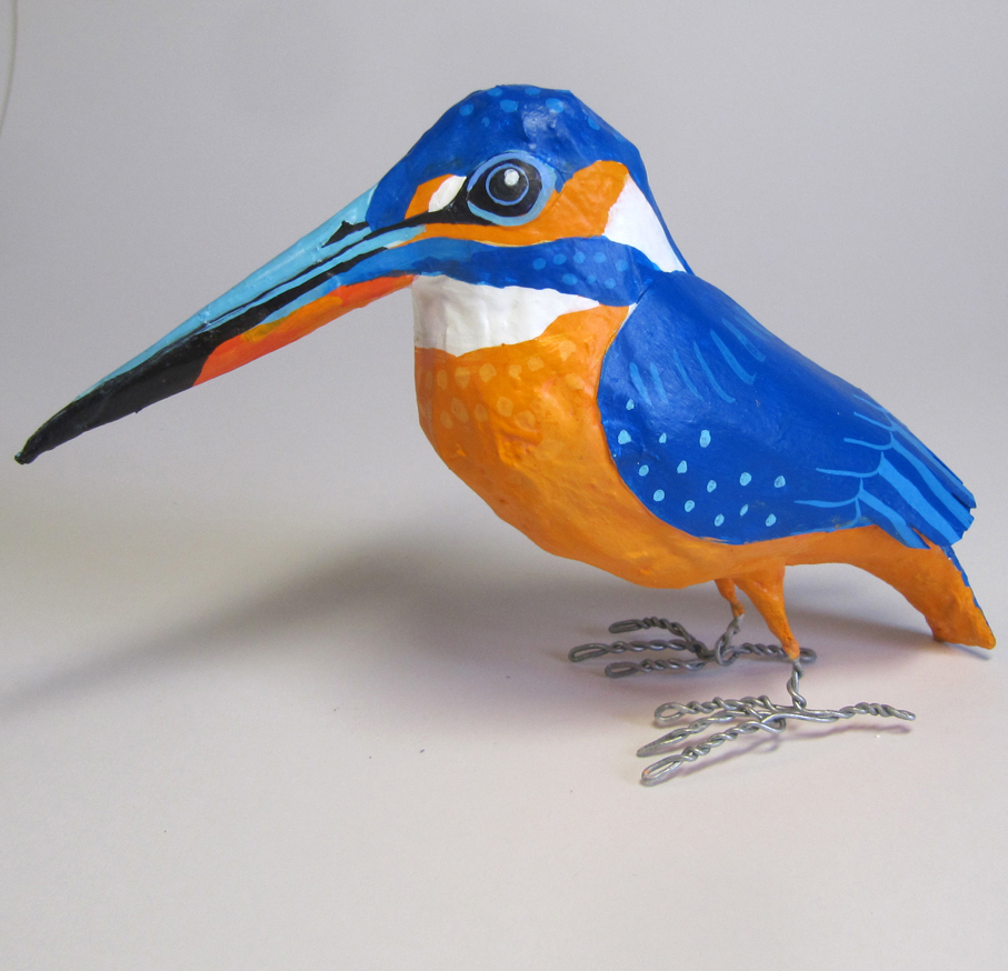 Paper mache kingfisher by Jane Tomlinson