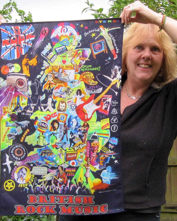 British rock music tea towel