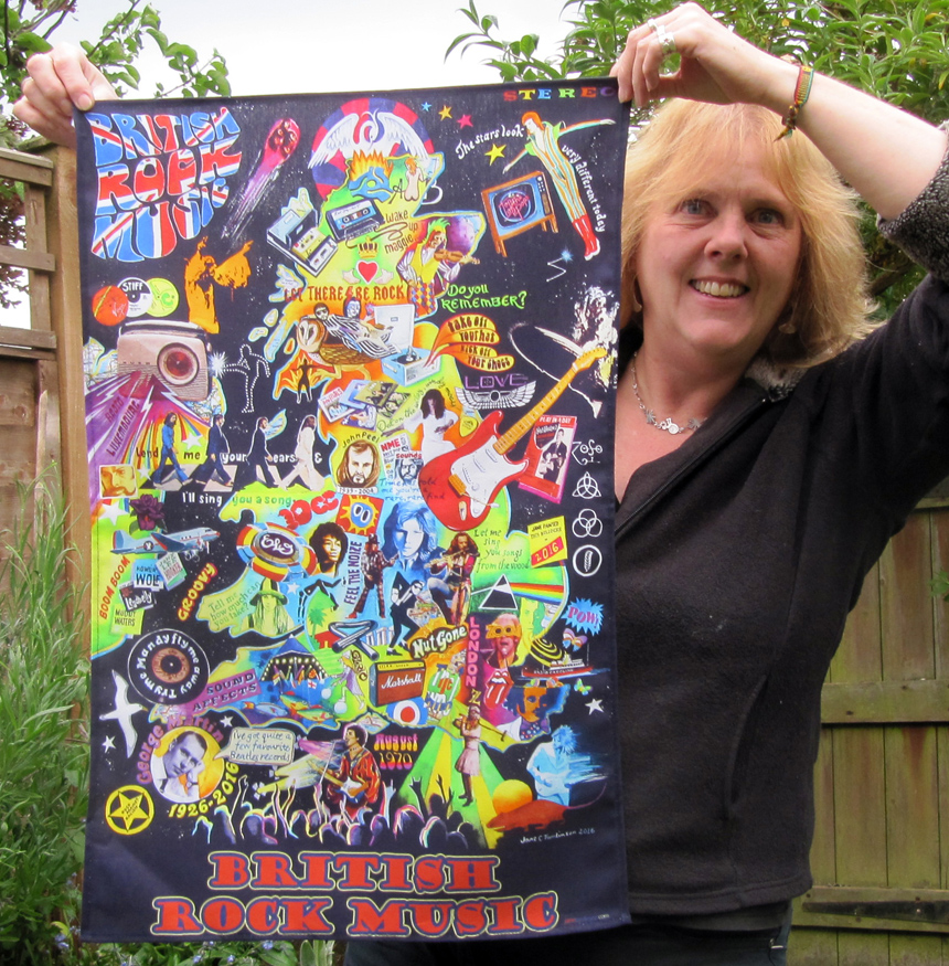 Jane Tomlinson and her British rock music tea towel