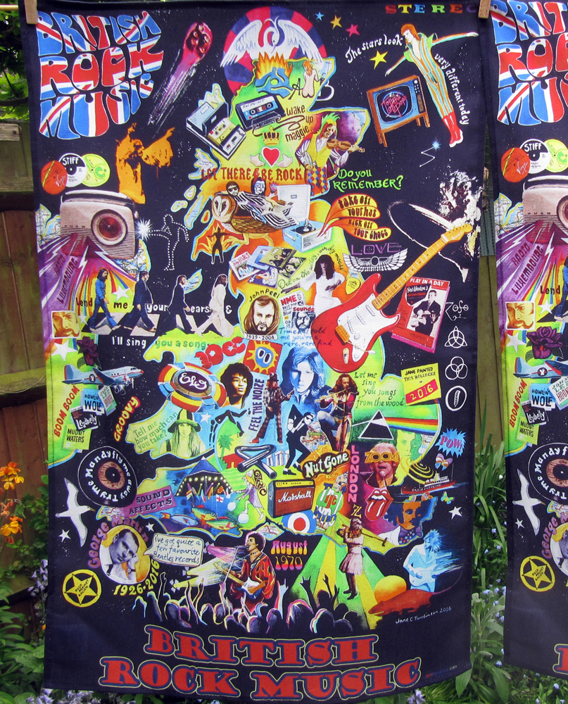 rock music tea towel