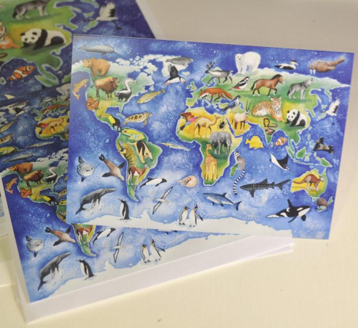 animal map greetings card